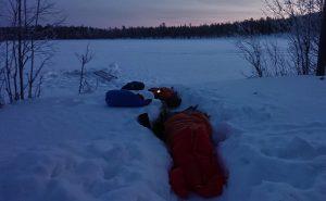 Sova ute under bar himmel